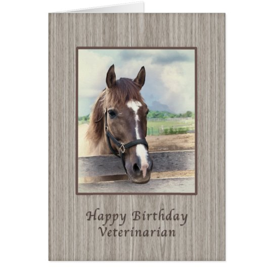 Birthday, Veterinarian, Brown Horse with Bridle Card