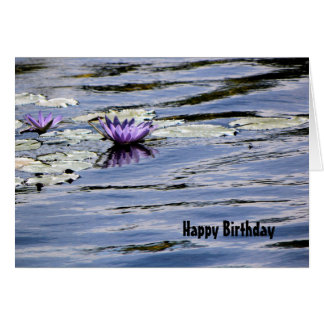 Birthday, Water Lily in Pastel Blue Pond Card