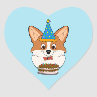 Birthday Welsh Corgi Cartoon Heart Sticker