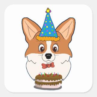 Birthday Welsh Corgi Cartoon Square Sticker