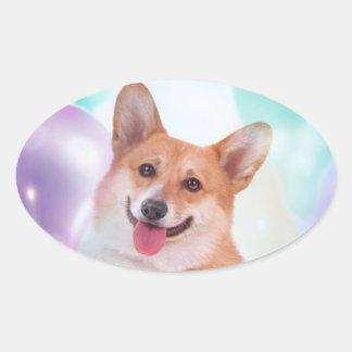 Birthday Welsh Corgi Oval Sticker