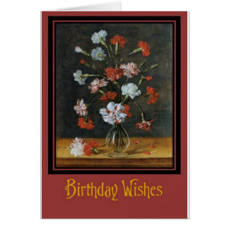 Birthday Wishes - Carnations In A Glass Vase Card