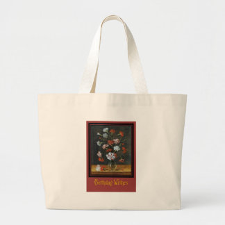 Birthday Wishes - Carnations In A Glass Vase Large Tote Bag