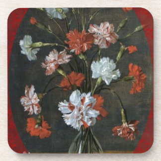 Birthday Wishes - Carnations With Oval Mount Coaster