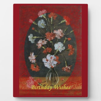 Birthday Wishes - Carnations With Oval Mount Plaque