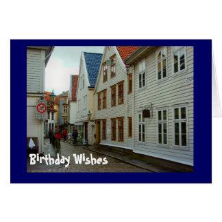Birthday Wishes, Cobbled street in Bergen Card