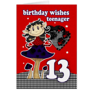 birthday wishes greeting card for teenager, 13