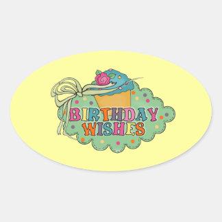 Birthday Wishes Oval Sticker
