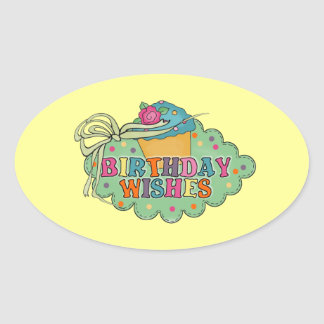 Birthday Wishes Oval Stickers