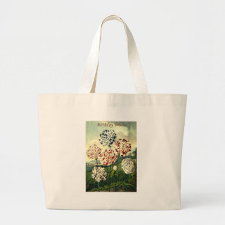 Birthday Wishes - Striped Carnation Large Tote Bag