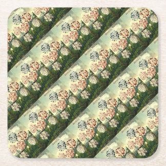 Birthday Wishes - Striped Carnation Square Paper Coaster