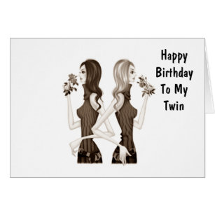 Twin sister birthday cards invitations zazzle birthday wishes to my twin sister card bookmarktalkfo
