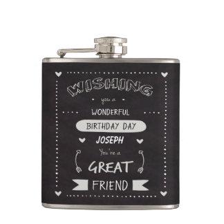 Birthday Wishing template on blackboard Flask
