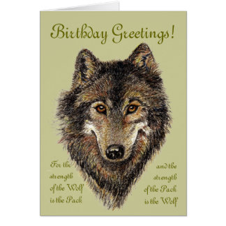Birthday Wolf, Wolves & Quote, Animal, Greeting Card