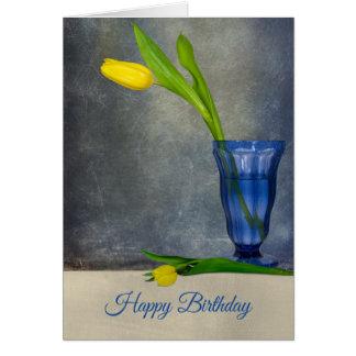 birthday-yellow tulip in sundae glass card