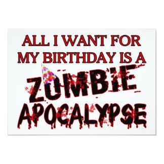 Birthday Zombie Apocalypse 13 Cm X 18 Cm Invitation Card