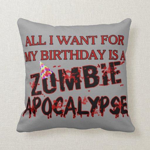Birthday Zombie Apocalypse Throw Pillows