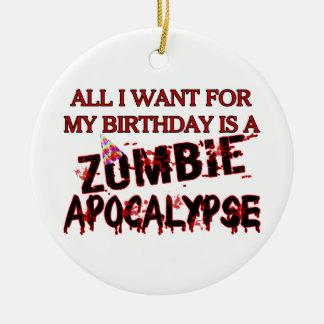Birthday Zombie Apocalypse Round Ceramic Decoration