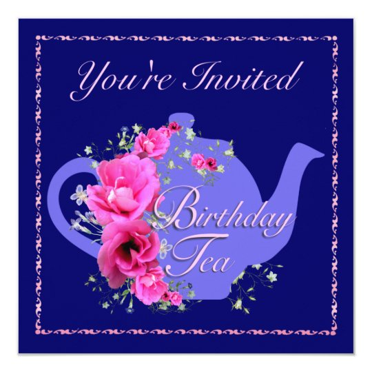 Birthdayl Tea Invitations Teapot and Pink Flowers