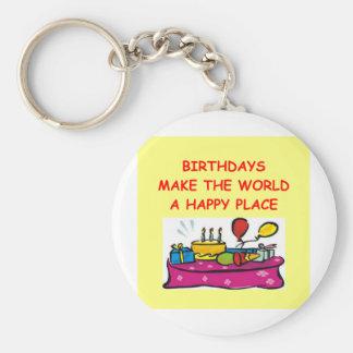 birthdays basic round button key ring