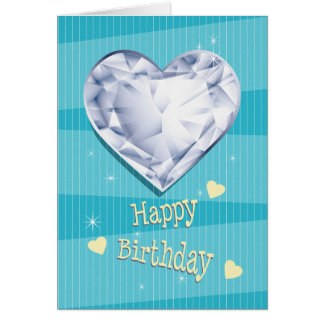 Birthstone April Blue Diamond Heart Birthday Card