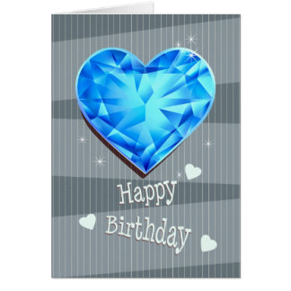Birthstone March Blue Aquamarine Heart Birthday Card