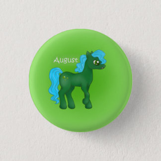 Birthstone Pony- August/Peridot 3 Cm Round Badge