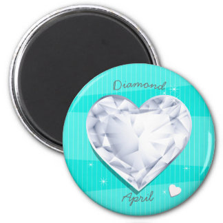 Birthstones April Diamond cool blue Heart Magnet