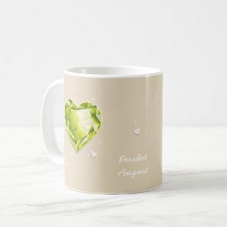 Birthstones August Olive Green Peridot Heart Coffee Mug
