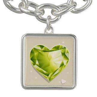 Birthstones August Peridot Olive Green Heart