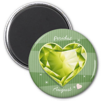Birthstones August Peridot Olive Green Heart 6 Cm Round Magnet