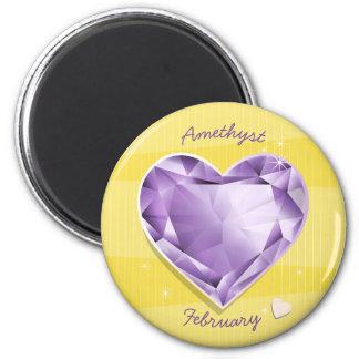 Birthstones February Amethyst Purple/lilac Heart Magnet