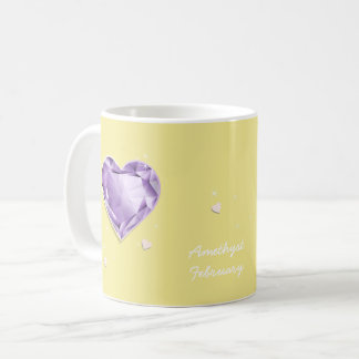 Birthstones February Purple Amethyst Heart Coffee Mug