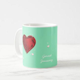 Birthstones January Red Garnet Heart Coffee Mug