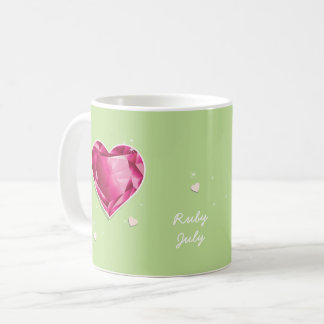 Birthstones July Red Ruby Heart Coffee Mug