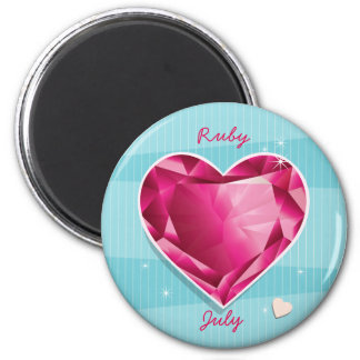Birthstones July Ruby Red Heart Magnet