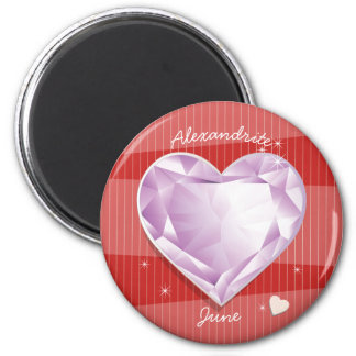 Birthstones June Alexandrite Pink Purple Heart Magnet