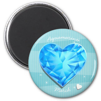 Birthstones March Aquamarine blue Heart Magnet