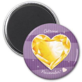 Birthstones November Citrine Golden yellow Heart Magnet