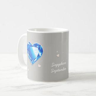 Birthstones September blue Sapphire Heart Coffee Mug