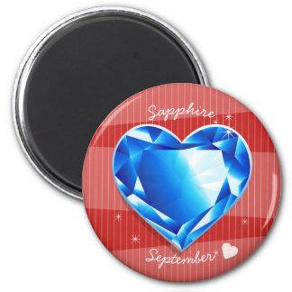 Birthstones September Sapphire Blue Heart 6 Cm Round Magnet