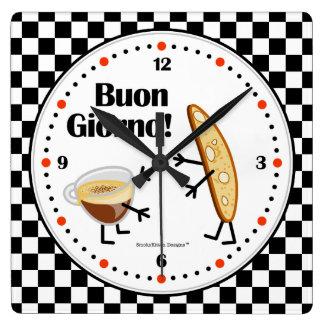 Biscotti and Coffee - Buon Giorno - Friendly Foods Wall Clocks
