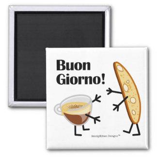 Biscotti & Coffee - Buon Giorno! Square Magnet