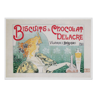 Biscuits Chocolate Vintage Food Ad Art Poster
