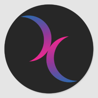 Bisexual double moons round sticker