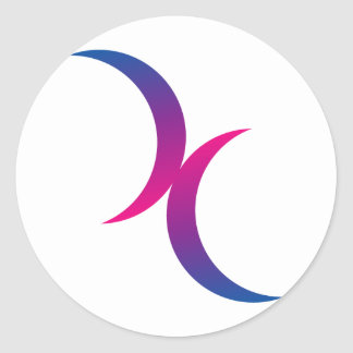 Bisexual moon symbol classic round sticker
