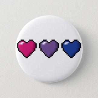 Bisexual Pixel Hearts 6 Cm Round Badge