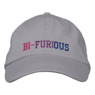 """Bisexual Power """"Bi-Furious"""" LGBT Embroidered Hat"""