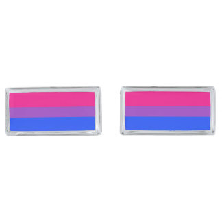 Bisexual Pride Flag Silver Finish Cuff Links