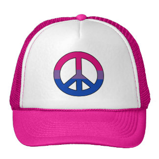 Bisexuality flag peace sign Trucker Hat
